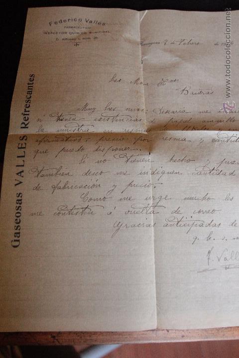 FEDERICO VALLÉS, GASEOSAS VALLES, ZARAGOZA, CARTA COMERCIAL, MARCA DE AGUA, 1916 -DOCA- (Coleccionismo - Documentos - Cartas Comerciales)