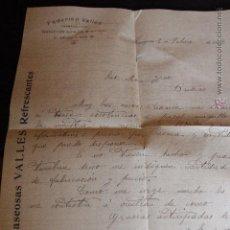 Cartas comerciales: FEDERICO VALLÉS, GASEOSAS VALLES, ZARAGOZA, CARTA COMERCIAL, MARCA DE AGUA, 1916 -DOCA-. Lote 50580380