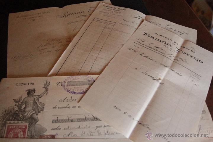 RAMON TORRIJO, ALMACEN DE TRAPO, VALENCIA, 4 DOCUMENTOS, 1915, -DOCA- (Coleccionismo - Documentos - Cartas Comerciales)