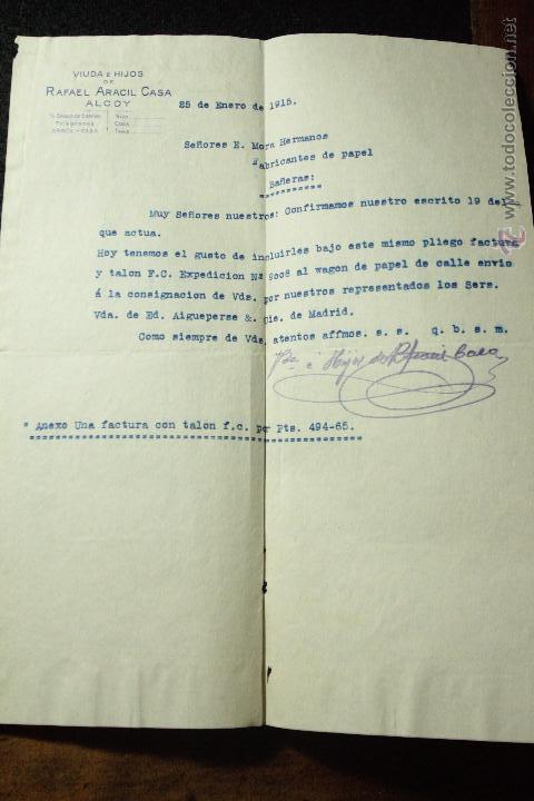 RAFAEL ARACIL CASA, ALCOY, 1915 -DECA- (Coleccionismo - Documentos - Cartas Comerciales)