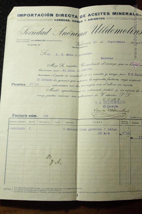 SOCIEDAD ANONIMA ULLDEMOLINS, CORREAS, GOMAS Y AMIANTOS, VALENCIA, 1915 (Coleccionismo - Documentos - Cartas Comerciales)