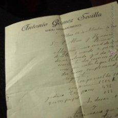 Cartas comerciales: ANTONIO GOMEZ SEVILLA, VILLENA, ALICANTE, 1906 -DOCA-. Lote 50585434