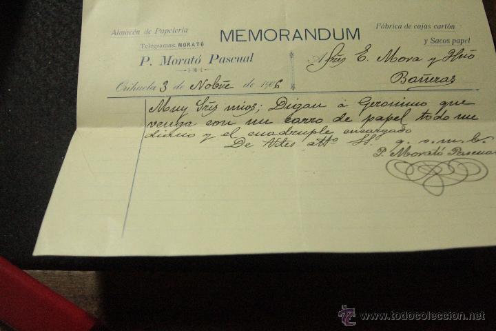 MEMORANDUM, P. MORATÓ PASCUAL, 1906, ORIHUELA -DOCA- (Coleccionismo - Documentos - Cartas Comerciales)