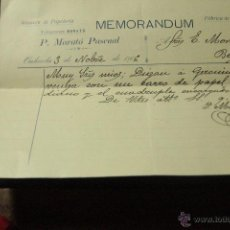 Cartas comerciales: MEMORANDUM, P. MORATÓ PASCUAL, 1906, ORIHUELA -DOCA- . Lote 50585471