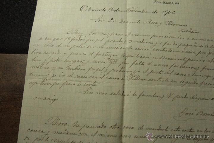 JOSE BORREDA PLÁ, ONTENIENTE, 1906, COMISIONES EN SILLAS BLANCAS, AJOS Y GENEROS DEL PAIS -DOCA- (Coleccionismo - Documentos - Cartas Comerciales)