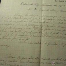 Cartas comerciales: JOSE BORREDA PLÁ, ONTENIENTE, 1906, COMISIONES EN SILLAS BLANCAS, AJOS Y GENEROS DEL PAIS -DOCA-. Lote 50585478