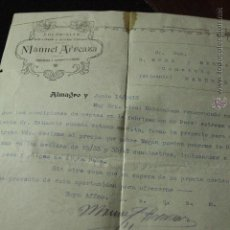 Cartas comerciales: MANUEL ARREAZA, COLONIALES, GRANOS Y EMBUTIDOS, ALMAGRO, 1913 -DOCA-. Lote 50585707