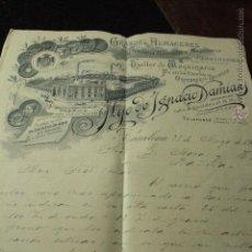Cartas comerciales: HIJO DE IGNACIO DAMIANS- FERRETERIA - QUINCALLA- FUNDICIONES- BARCELONA CARTA 1902 -DOCA-. Lote 50585710