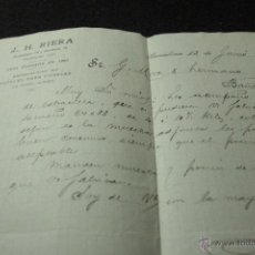 Cartas comerciales: J. H. RIERA, BARCELONA, PAPELES PARA EMBALAR, 1912 -DOCA-. Lote 50585821