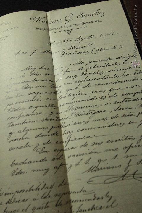 MARIANO G. SANCHEZ, AGENTE DE LA COMPAÑIA DE SEGUROS LA NEW YORK, MURCIA, 1902 (Coleccionismo - Documentos - Cartas Comerciales)
