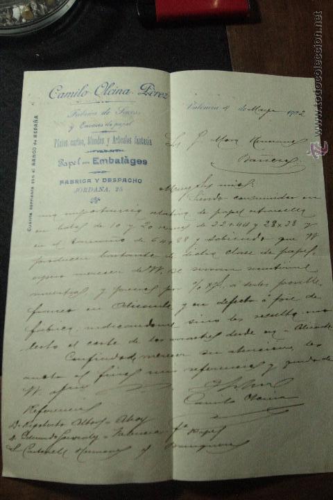 CAMILO OLCINA PEREZ, FABRICA DE SACOS, JORDANA,25, VALENCIA, 1902 -DOCA- (Coleccionismo - Documentos - Cartas Comerciales)