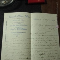 Cartas comerciales: CAMILO OLCINA PEREZ, FABRICA DE SACOS, JORDANA,25, VALENCIA, 1902 -DOCA-. Lote 50585824