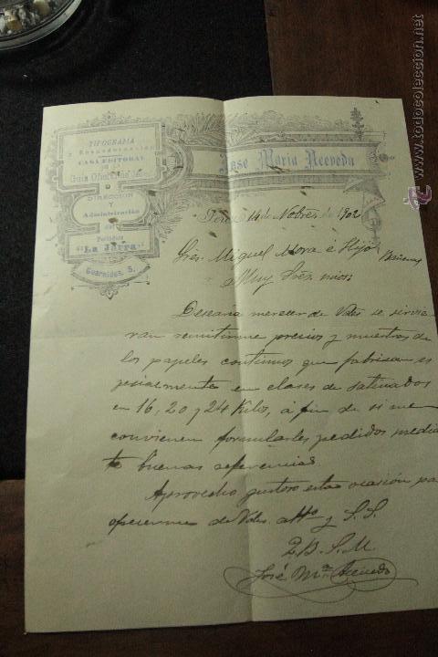 JOSE MARIA ACEVEDO, PERIODICO LA JARRA, JEREZ, 1902 -DOCA- (Coleccionismo - Documentos - Cartas Comerciales)