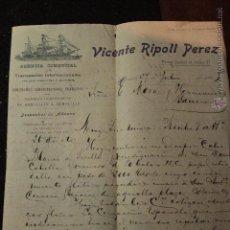 Cartas comerciales: VICENTE RIPOLL PEREZ, TRANSPORTES INTERNACIONALES, ALICANTE, 1915 -DOCA-. Lote 50600679