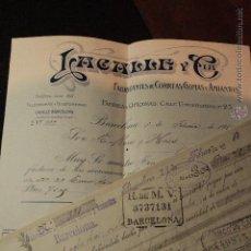 Cartas comerciales: LACALLE Y CIA, FABRICANTES DE CORREAS, GOMAS Y AMIANTOS, BARCELONA, 1914 -DOCA-. Lote 50600691