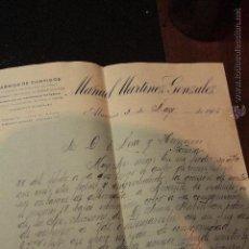Cartas comerciales: MANUEL MARTINEZ GONZALEZ, ALMERIA, 1916, FABRICA DE CURTIDOS -DOCA-. Lote 50614710