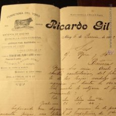 Cartas comerciales: RICARDO GIL - FERRETERIA DEL TORO - ALCOY- 1902 -DOCA-. Lote 50627866