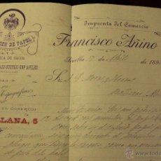 Cartas comerciales: FRANCISCO AÑINA, SEVILLA, 1897, ALMACEN DE PAPEL, CALLE SANTILLANA, 8 -DOCA-. Lote 143093250
