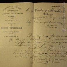 Cartas comerciales: E. MARTIN Y MERCHÁN, 1905, MANZANARES, QUINCALLA, PAQUETERIA, COLONIALES, DROGAS... -DOCA-. Lote 50632186