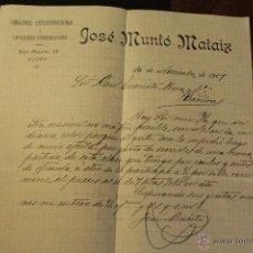 Cartas comerciales: JOSE MUNTÓ MATAIX, ALCOY, 1907, COMISIONES Y REPRESENTACIONES, SAN MAURO, 15 -DOCA-. Lote 50632223
