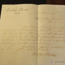Cartas comerciales: SANTIAGO ROVIRA, ALCOY, ALICANTE, 1899, CARTA COMERCIAL, -DOCA-. Lote 50632674