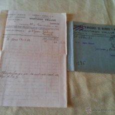 Cartas comerciales: TARRAGONA AÑO 1926 - SOBRE FRANQUEADO Y FACTURA DE HIERROS Y ACEROS SA, SANTIAGO VALLVE. Lote 51012040