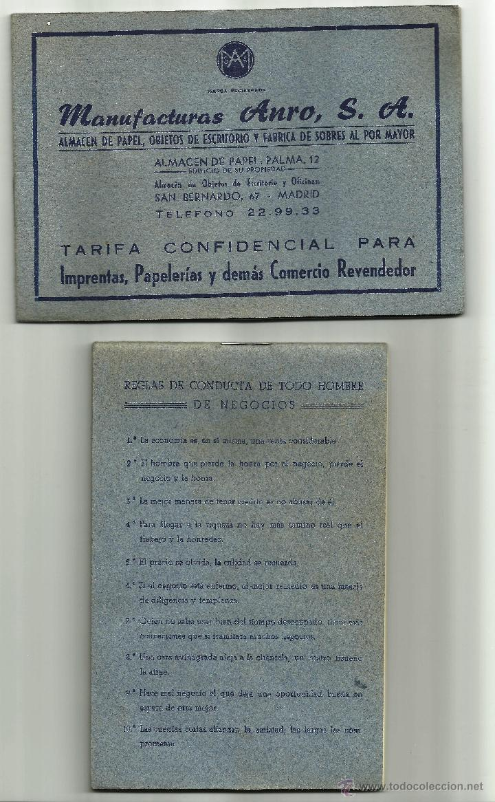 TARIFAS DE MANUFACTURAS ANRO S.A. / 2 LIBRETAS DE 1952 (Coleccionismo - Documentos - Cartas Comerciales)