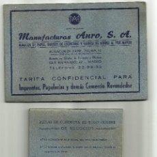 Cartas comerciales: TARIFAS DE MANUFACTURAS ANRO S.A. / 2 LIBRETAS DE 1952. Lote 51416702