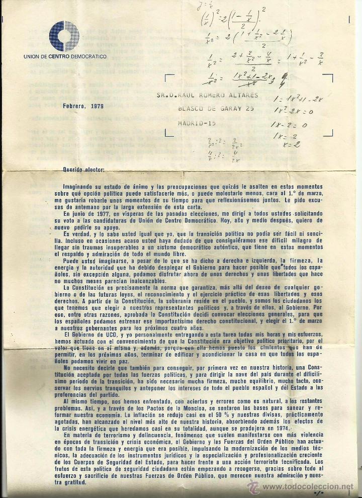 CARTA DE ADOLFO SUAREZ (UNIÓN DE CENTRO DEMOCRÁTICO) A LOS ELECTORES. FEBRERO 1979. (Coleccionismo - Documentos - Cartas Comerciales)