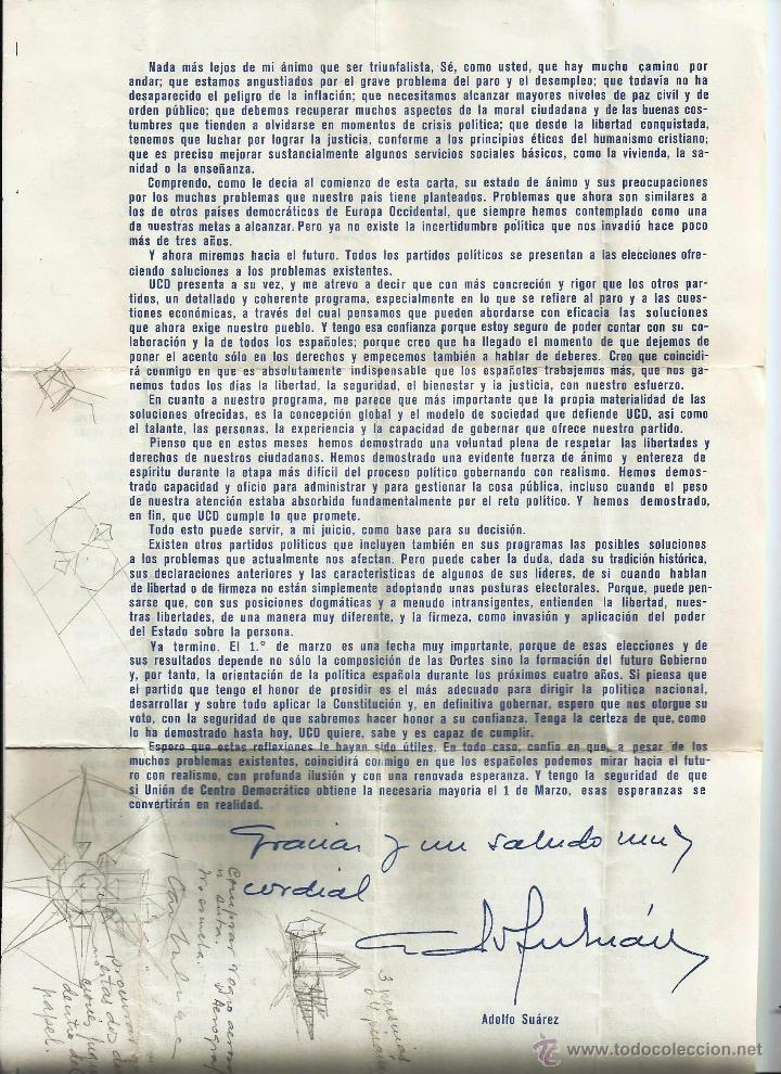 Cartas comerciales: Carta de ADOLFO SUAREZ (UNIÓN DE CENTRO DEMOCRÁTICO) A LOS ELECTORES. FEBRERO 1979. - Foto 2 - 51547234