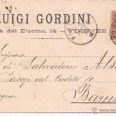 Cartas comerciales: CARTA LUIGI GORDINI / FIRENZE 24 NOVIEMBRE 1899 / SELLADA Y TIMBRADA. Lote 51626788