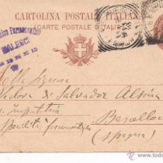 Cartas comerciales: CARTA A SALVADOR ALZINA / BARCELONA / CARTOLINA POSTALE ITALIANA / 1903 / TIMBRADA. Lote 51626831