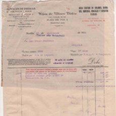 Cartas comerciales: CARTA COMERCIAL HIJOS DE ULISES BIDÓN : ALMACÉN DE DROGAS, PRODUCTOS QUÍMICOS. SEVILLA 1938. Lote 51848685