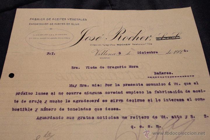 JOSÉ ROCHER, FABRICA DE ACEITES VEGETALES, VILLENA ..CARTA COMERCIAL, 1926 -DOCG- (Coleccionismo - Documentos - Cartas Comerciales)