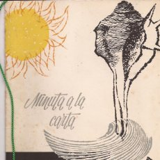 Cartas comerciales: HOTEL 3 CARABELAS / MINUTA A LA CARTA / TORREMOLINOS / 11 AGOSTO 1964. Lote 56328486