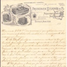 Cartas comerciales: FREDERICK STEARNS & CO / MANUFACTURAS FARMACÉUTICAS / DETROIT / USA / 1889. Lote 52000768