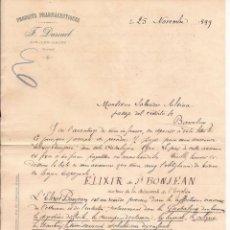 Cartas comerciales: F. DUSSUEL / PRODUCTOS FARMACÉUTICOS / PARÍS / 25 NOVIEMBRE 1889. Lote 52001208