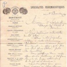 Cartas comerciales: BERTHIOT / PRODUCTOS FARMACÉUTICOS / PARÍS / 1 DICIEMBRE 1889. Lote 52001258