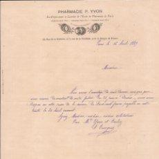 Cartas comerciales: PHARMACIE P. YVON / PARÍS / 16 ABRIL 1889. Lote 52001328