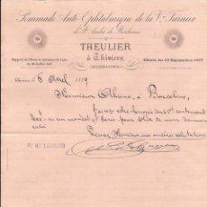 Cartas comerciales: THEULIER À THIVIERS / POMMADE / PARÍS / 6 ABRIL 1889. Lote 52003063