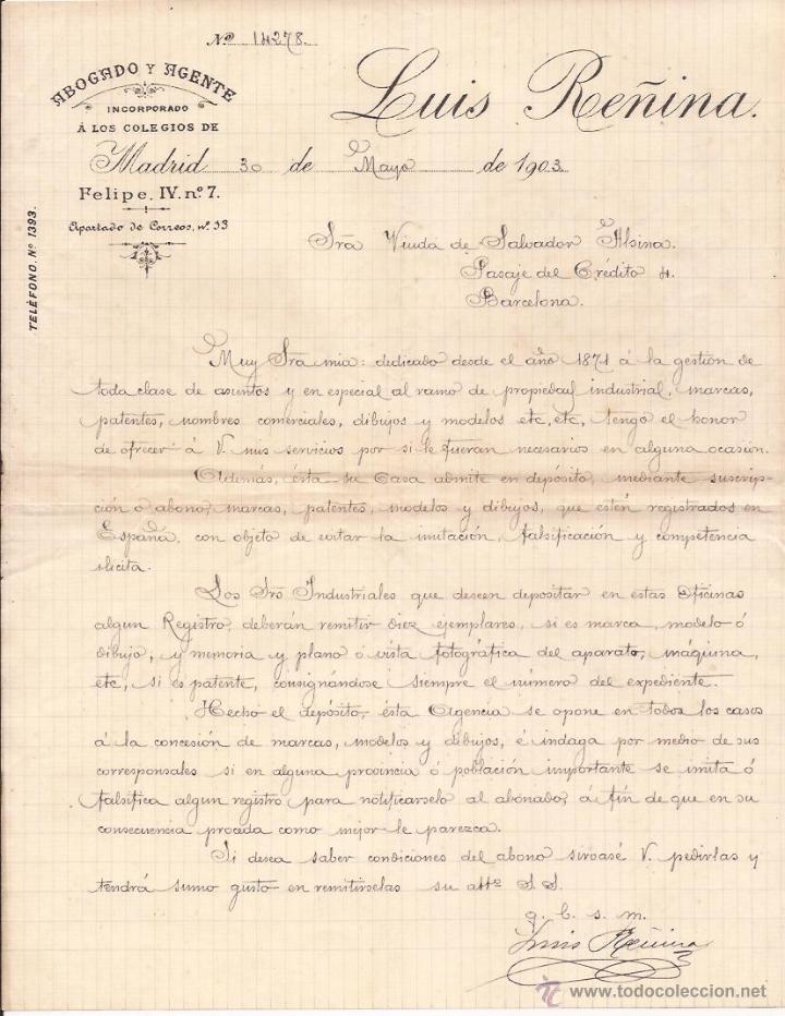 LUIS REÑINA / ABOGADO Y AGENTE / MADRID / 30 MAYO 1903 segunda mano