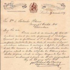 Cartas comerciales: THOMAS HOLLOWAY / LONDRES / 29 NOVIEMBRE 1899. Lote 52003305
