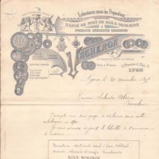 Cartas comerciales: VACHERON / PHARMACIEN / LYON / 30 NOVIEMBRE 1899. Lote 52003539