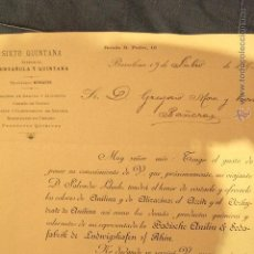 Cartas comerciales: SIXTO QUINTANA, BARCELONA, 1895, PRODUCTOS QUÍMICOS, CARTA COMERCIAL S.XIX -DOCH-. Lote 52125689