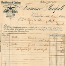 Cartas comerciales: MANUFACTURA DE CAMISAS FRANCISCO MARFULL. BARCELONA.. Lote 52393713