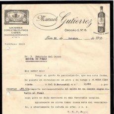 Cartas comerciales: CARTA COMERCIAL LICORES MANUEL GUTIERREZ. LEON. AÑO 1935. Lote 52431230
