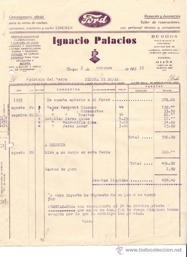 FACTURA COMERCIAL CONCESIONARIO FORD IGNACIO PALACIOS. BURGOS, AÑO 1935 (Coleccionismo - Documentos - Cartas Comerciales)