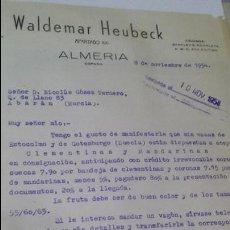 Cartas comerciales: ANTIGUA CARTA COMERCIAL WALDEMAR HEUBECK ALMERIA ABARAN MURCIA. Lote 52517628