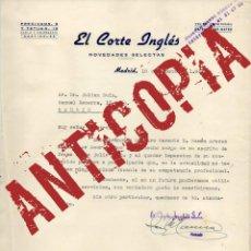 Cartas comerciales: CARTA CON EL ENCABEZAMIENTO DE EL CORTE INGLÉS, CUANDO TAN SOLO TENÍA DOS SUCURSALES (AÑO 1950).. Lote 52616425