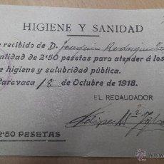 Cartas comerciales: ANTIGUO RECIBO HIGIENE Y SANIDAD CARAVACA DE LA CRUZ MURCIA 1918. Lote 52692559
